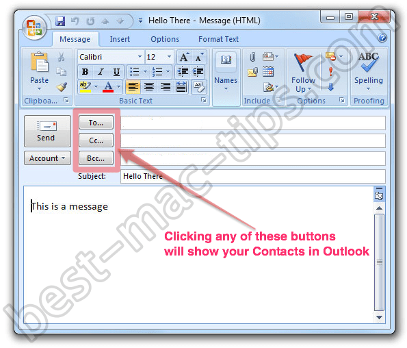 MS Outlook Compose Message Box