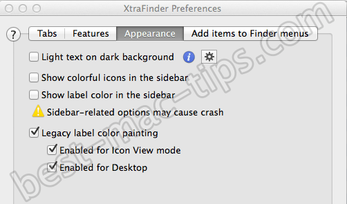 XtraFinder Preferences