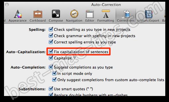 Auto Correction scrivener