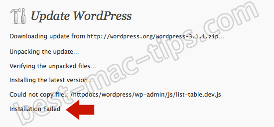 Wordpress permissions error