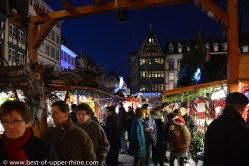 Visitors to the Christmas market near Strasbourg Cathedral. Prefer weekdays.