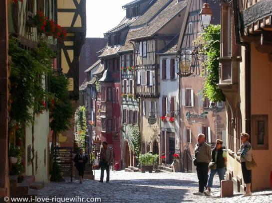 Main street in Riquewihr, a gem out of the wine golden age in the 16th Century.