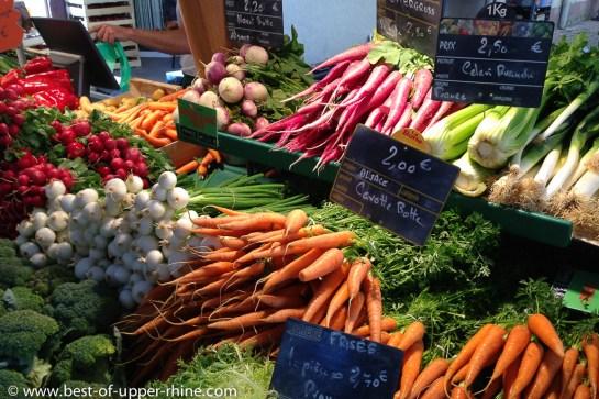 Fresh vegetables on the market of Sélestat, Alsace