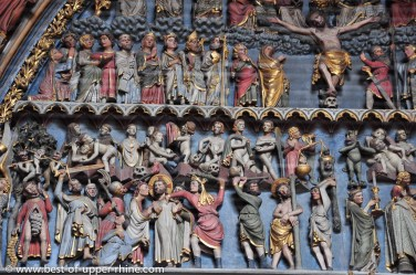 Main entrance to the cathedral of Freiburg, Germany - Details