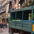 Riquewihr - main street. Load of grapes from Hugel estate