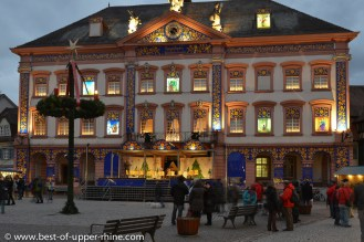 Town hall of Gengenbach in Germany as a giant Advent calendar