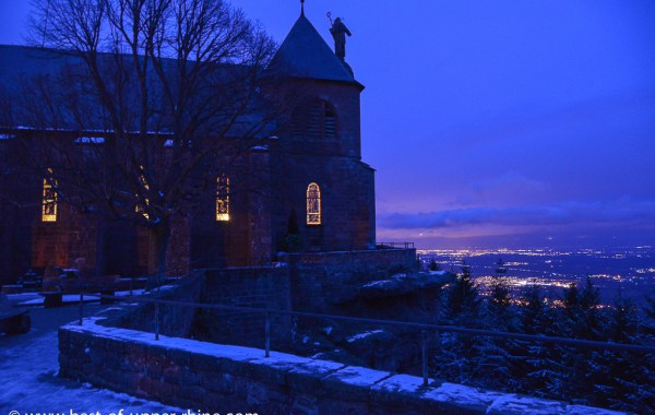 Church of Mount Sainte Odile overlooking the plain of Alsace