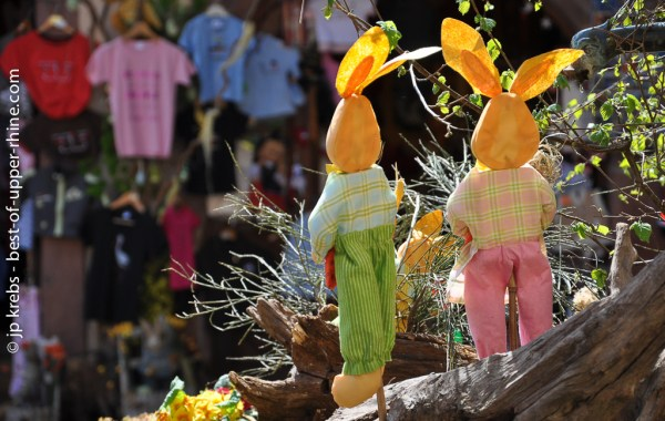 Easter Bunnies in the street. Riquewihr, Alsace.