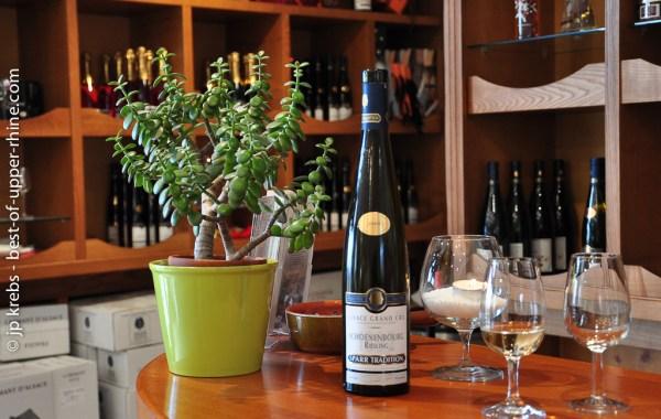 Wine sampling at Charles Sparr estate in Riquewihr