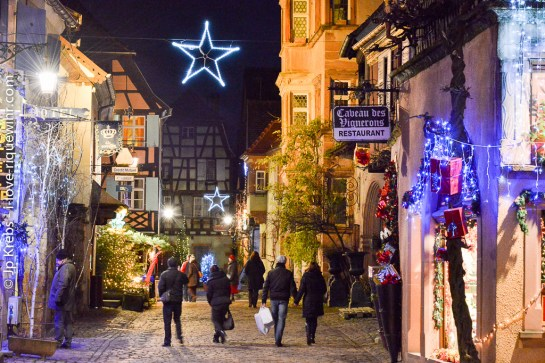 Main street of Riquewihr on a weekday in December.