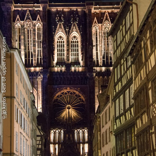 The cathedral Notre Dame of Strasbourg in its suit of lights.