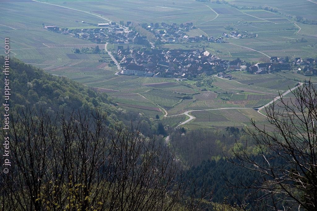Village of Saint-Hippolyte Alsace seen from the castle Haut-Koenigsbourg