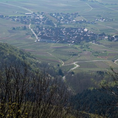 Village of Saint-Hippolyte Alsace seen from the castle Haut-Koenigsbourg
