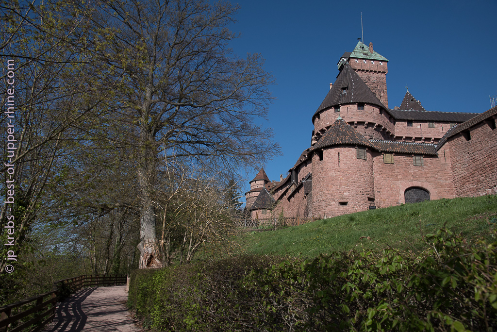 Path leading to the main entrance of castle Haut-Koenigsbourg in Alsace.