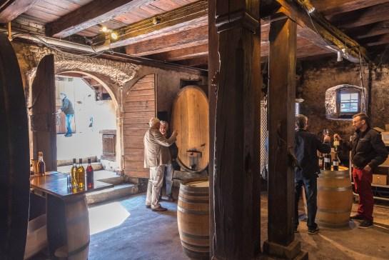 Traditional wine cellar in Mittelbergheim