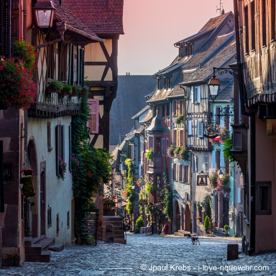 Riquewihr main street at 08:30 am in September