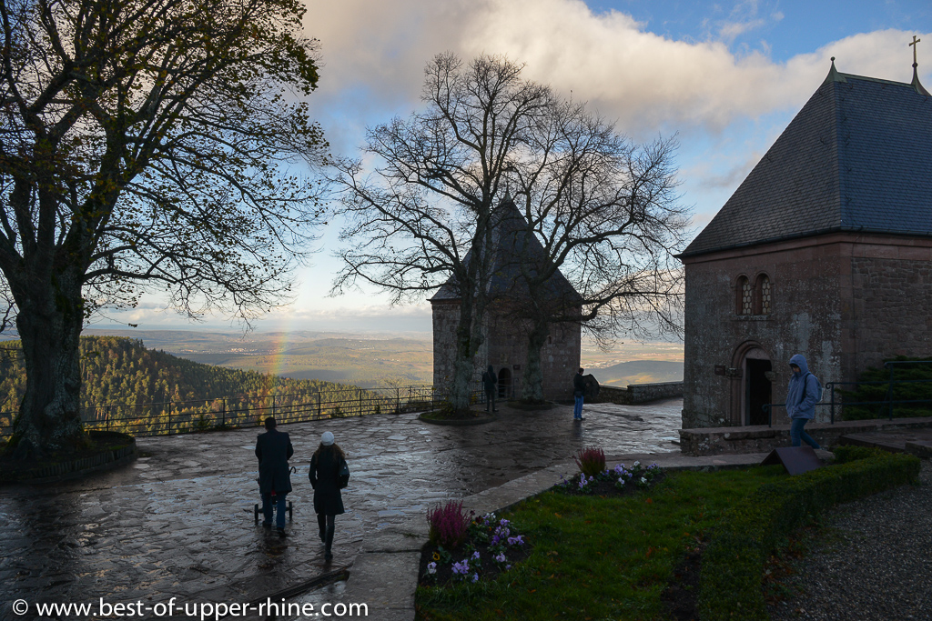 The monastery of Mont Sainte-Odile. Terrace with view on the plain of Alsace. Always spectacular and mystical …