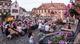 Summer street festival in Bergheim, Alsace