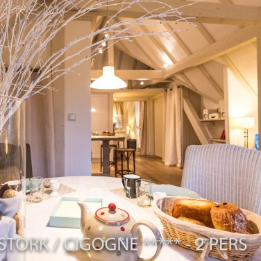 The dining place of the White Stork, Spectacular and romantic loft apartment with terrace in Riquewihr