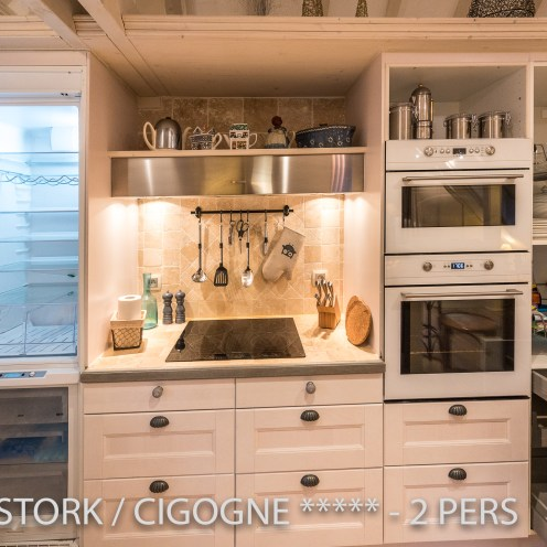 The kitchen of the White Stork, with a big fridge with freezer, a real oven, microwaves, in Riquewihr