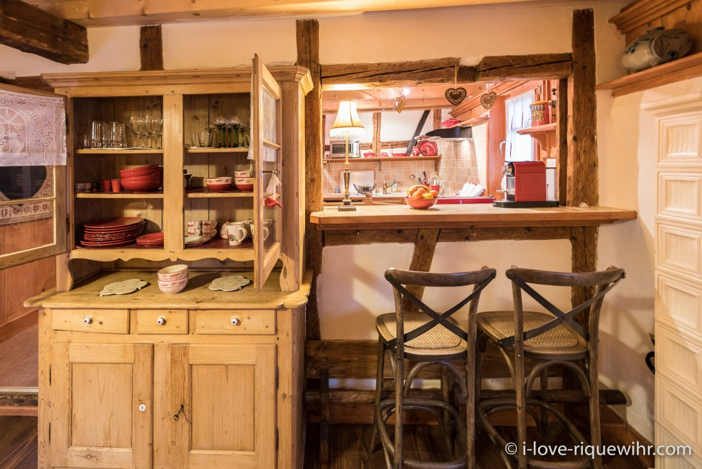 The dining room in the Dove's Nest in Riquewihr, one of the most beautiful places available for holiday rental in Alsace on the Alsace Wine Route!