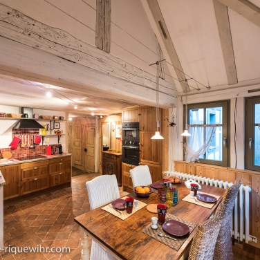 The kitchen of the Lucky Dragon, Luxury Family Gite on the Alsace Wine Route in Riquewihr, ideal for a family of 2 adults + children.