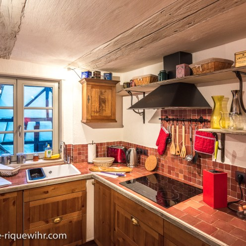 The kitchen of the Luxury Dragon, Luxury Family Gite on the Alsace Wine Route in Riquewihr, ideal for a family of 2 adults + children.