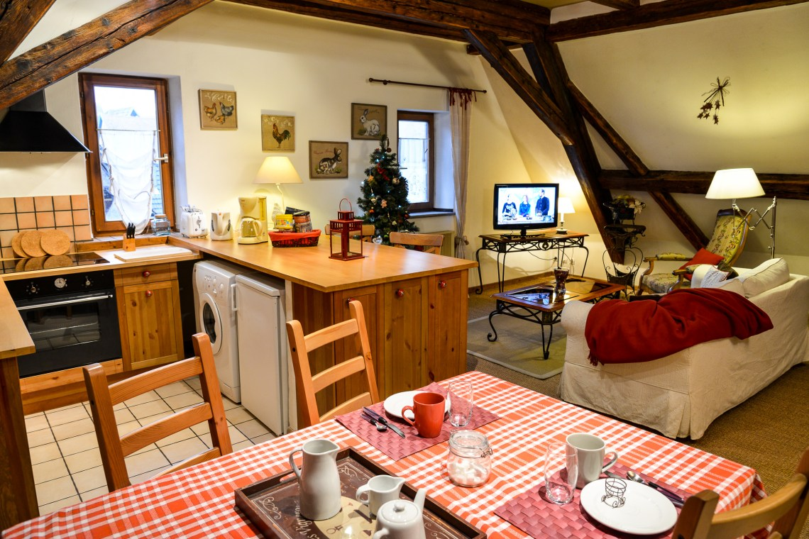 The main room with the kitchen of the Klevner, charming holiday apartment in Riquewihr on the Alsace Wine Route, ideal for a family of 2 adults + 1 child.