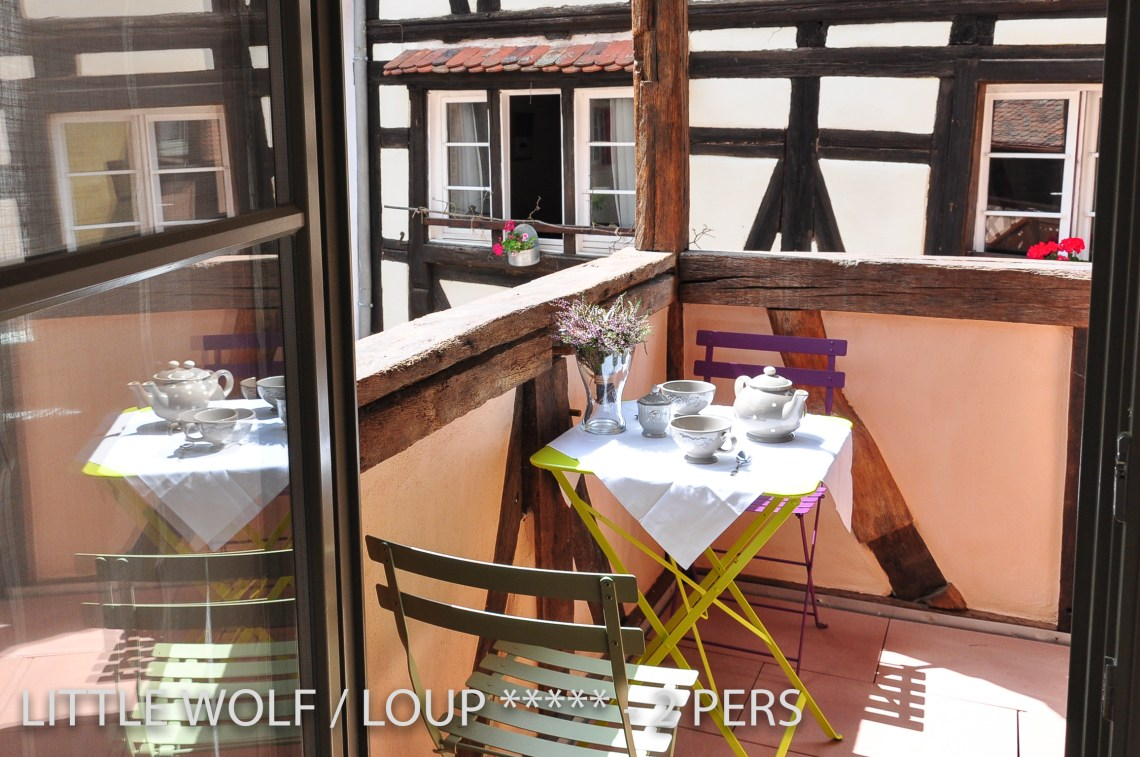 The balcony of the The Little Wolf, lovely apartment in Riquewihr in Alsace for 2 persons just near the Schœnenbourg vineyard on the Alsace wine route