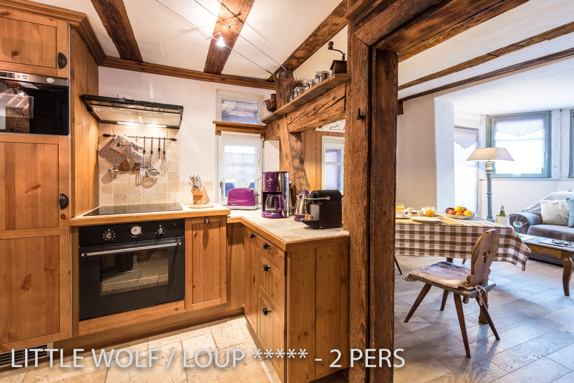 The kitchen of the The Little Wolf, lovely apartment in Riquewihr in Alsace for 2 persons just near the Schœnenbourg vineyard on the Alsace wine route