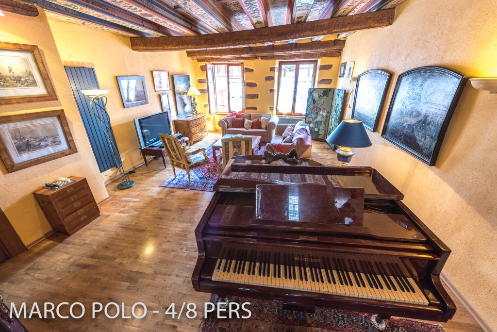The living room in Marco-Polo with a real piano, Sumptuous and spacious holiday home in Riquewihr for 6 persons