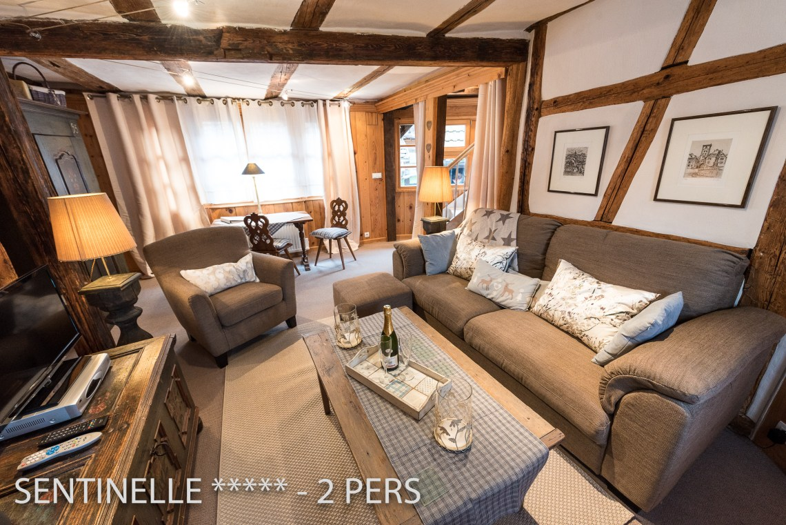 The main room of the Sentinel, charming holiday apartment for 2 persons in Riquewihr