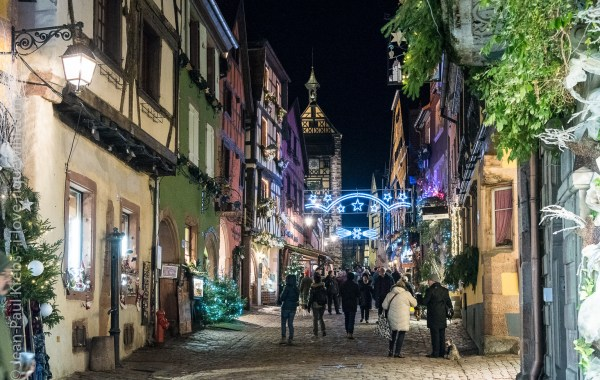 Riquewihr in December, during the Christmas market season
