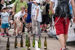 Slow Up Alsace. Big atmosphere at the stand of the CIVA (Inter-Professional Alsace Wine Committee) at the starting village in Bergheim.