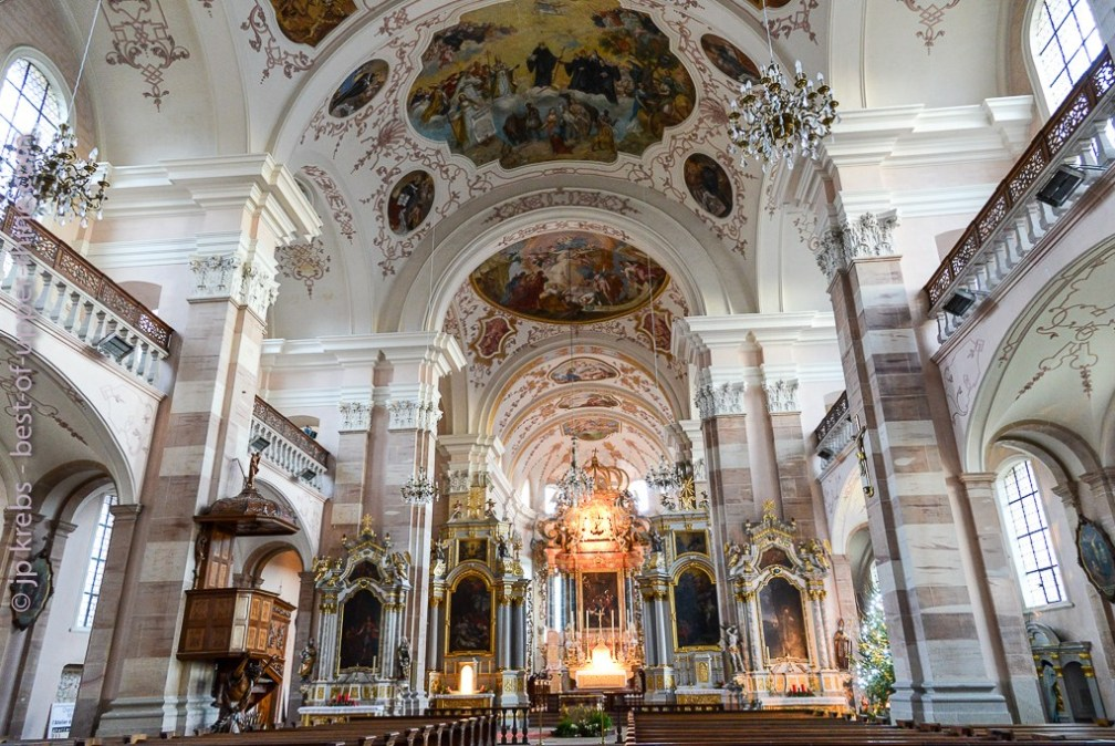 The abbey church of Ebersmunster is a treasure of baroque art in Alsace.
