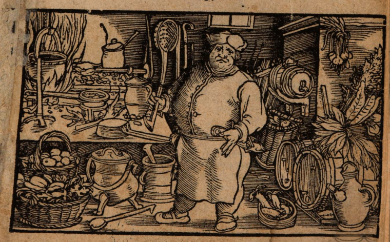 Engraving of the cover page of Christian Egnolphen's cookbook published in Strasbourg in 1530 - Staatsbibliothek Bayern.