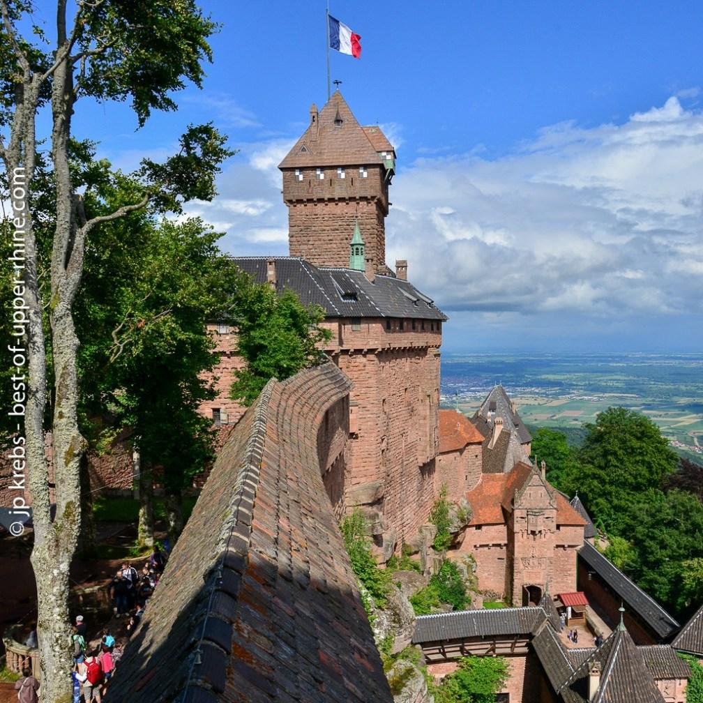The imposing castle of Haut-Koenigsbourg dominates the plain of Alsace
