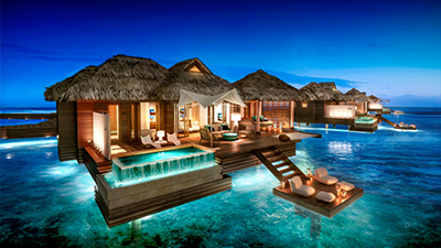 best overwater bungalows caribbean resort vacation