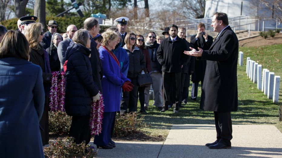 Acting NASA Administrator Robert Lightfoot speaks at a wreath-laying ceremony during NASA's Day of Remembrance on Jan. 31, 2017, at Arlington National Cemetery. The wreaths were laid in memory of those men and women who lost their lives in the quest for space exploration.
