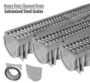Source 1 Driveway Outdoor Channel Drain with Galvanized Steel Grate