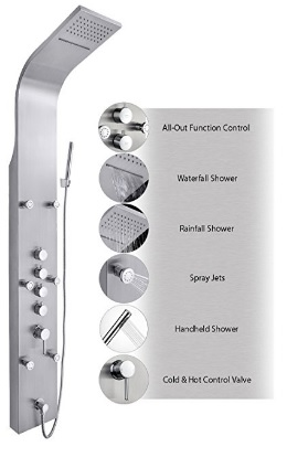 "AKDY JX-9821 AZ-9821 65"" Stainless Steel Shower Wall Panel With Rain Waterfall, Rain Style Hand Shower and Massage Jets"