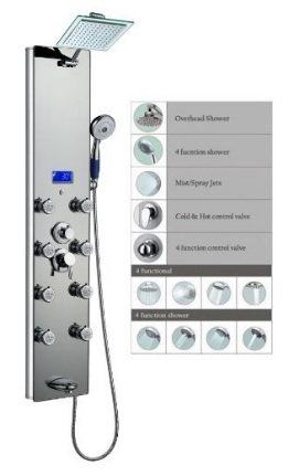 "Blue Ocean 52"" Top Aluminum Shower Panel Tower with Rainfall Shower Head And Massage System"