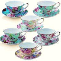 Tea Cup and Saucer Set of 6, Floral Tea Cups, 8 Oz.Bone ...