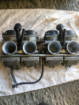 carburettors off a Yamaha FZR600 before ultrasonic cleaning