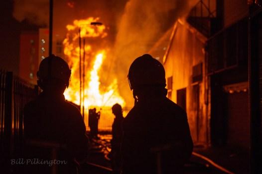 Firemen tackle factory blaze
