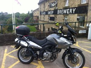 Suzuki VStrom outside a brewery