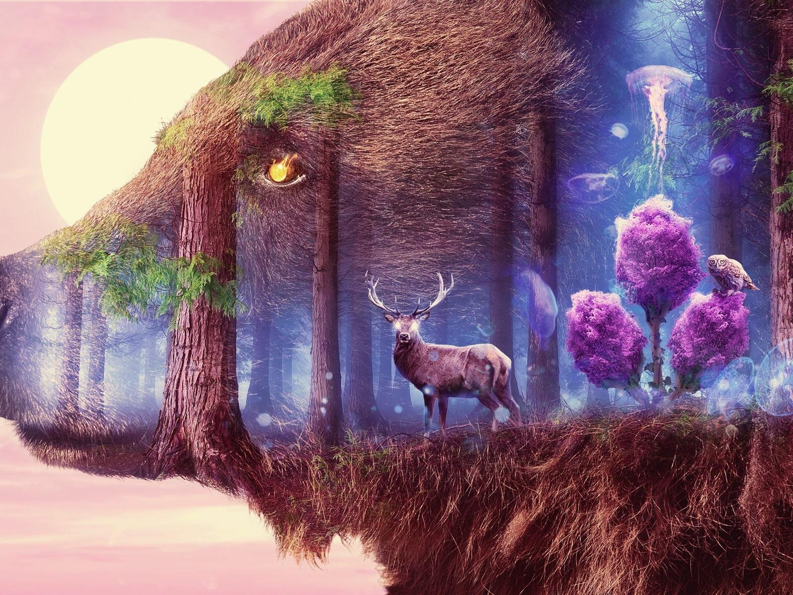 Anime Girl X1200 Wallpaper Big Bear Deer Birds Forest Moon Surrealism