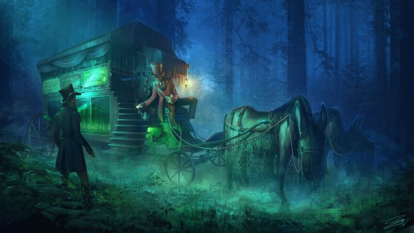Wallpaper Hearse Horse Night Forest Horror Art