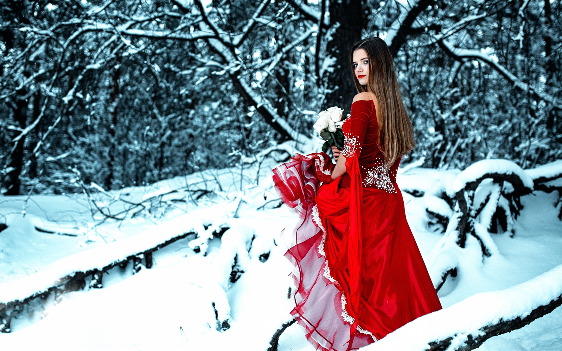 Dreamy Girl Wallpapers Wallpaper Red Dress Girl In Winter Look Back Rose Snow