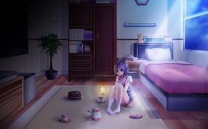 anime bedroom night lonely moonlight wallpapers